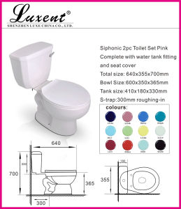 Ceramic Side Handle Gravity Flushing Elongate Pink Color 2PC Water Closet pictures & photos