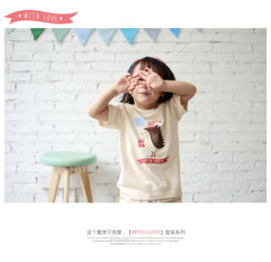 Animal Printing Organic Cotton Baby T-Shirt with Nature Color pictures & photos