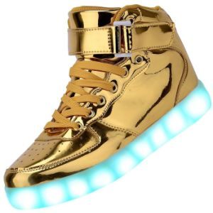 Gold Unisex LED Light Shoes for Luminous Dancing pictures & photos