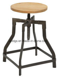 Wooden Seat Iron Tube Adjustable Bar Stool pictures & photos