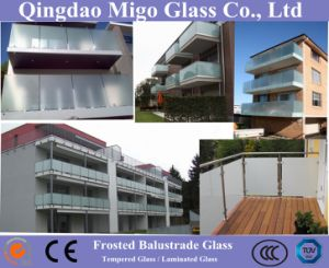 Balcony Railing Glass, Obscure Chemical Etched Building Glass pictures & photos