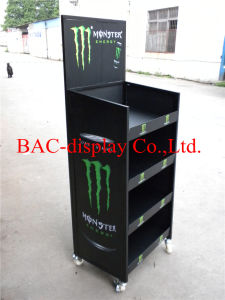 Movable 4 Tier Metal Retail Beverage Display Rack with 4 Wheels pictures & photos
