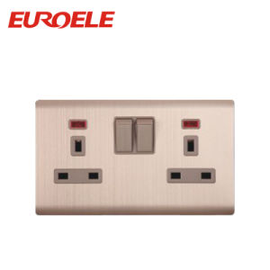 Gold Color Aluminum Double Switched Socket pictures & photos