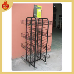Adjustable Metal Rotating Display Wire Racks with Wheels pictures & photos