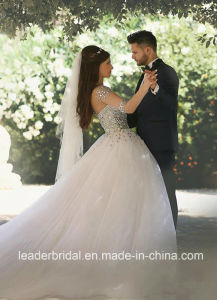 Puffy Arabic Bridal Ball Gown Sheer Tulle Sleeves Crystal Wedding Dress Ar2017 pictures & photos