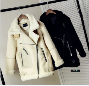 PU Fur Collar Fur Lambs Wool with Thick Short Jacket Fur Coat pictures & photos
