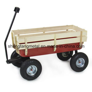 Outdoor Wagon All Terrain Pulling W/ Wood Railing Air Tires Children Kid Garden