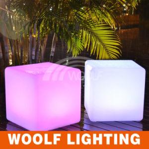 LED 50cm Colorful Decorative Plastic Cube Chair pictures & photos