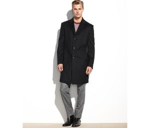Wool-Blended Slim Fit Men′s Black Overcoat pictures & photos