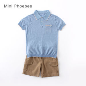 Wholesale Fashion Linen Short Sleeve Kids Wear Summer Boys T-Shirt pictures & photos