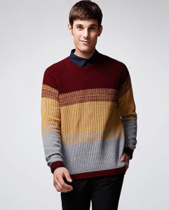 100%Cotton Fashion Clothing Gradient Colour Pullover Men Sweater pictures & photos