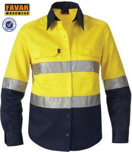 100% Cotton Orange Long Sleeve Work Shirt High Vis Work Shirt Reflective Safety Shirt pictures & photos