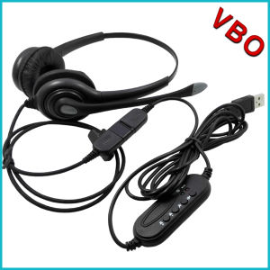 USB Telephone Headset for Call Center with Qd pictures & photos