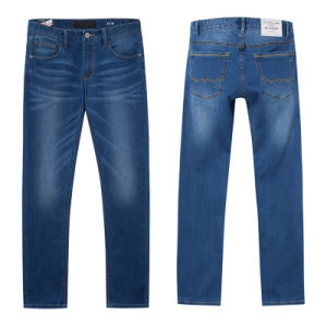 Men′s Loose-Cut Classical Wash Denim Pants pictures & photos