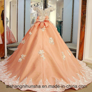 Lace up Custom Made V Neck Wedding Dress pictures & photos