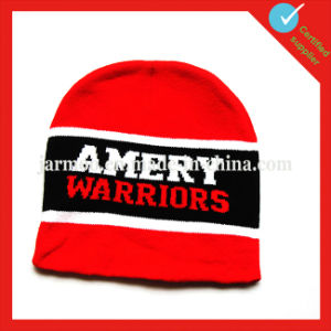 Wholesale White Acquard Knitted Beanie Hat with Brim pictures & photos