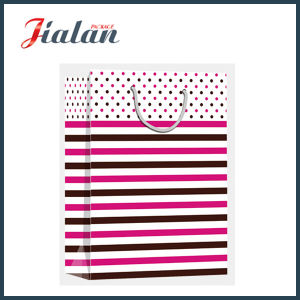 Glossy Laminated Art Paper Dots & Tripes Shopping Gift Paper Bag pictures & photos