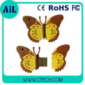 2015 New Style Promotional Gifts PVC Custom Cartoon Butterfly USB Flash Drive