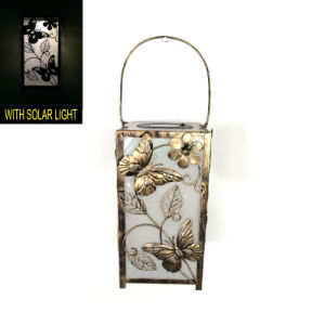 Solar Lighted Garden Decoration Metal Square Butterfly Lantern Craft pictures & photos