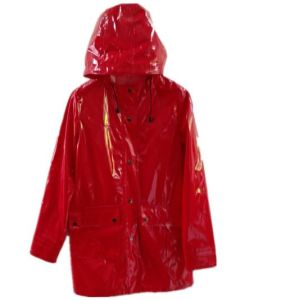 Red Hooded Button*Pocket Solid PU Raincoat for Adult pictures & photos