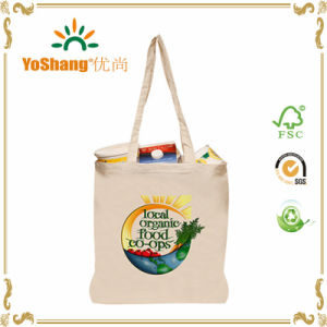 Promotional 100% Natural Cotton Long Handle Tote Calico Bag pictures & photos