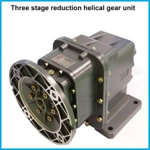 Footed Motor Two-Staged Speed Reduction Helical Gearbox Reducer pictures & photos