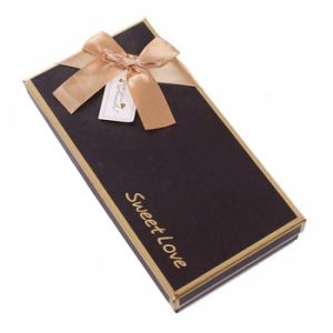 New fashion Brown Rigid Cardboard Handmade Gift Box with Ribbon pictures & photos