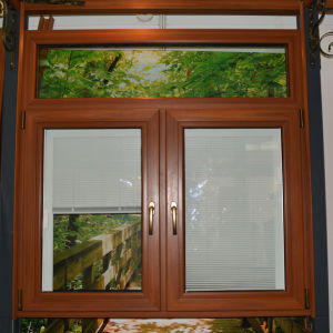High Quality Aluminium Wood Profile Inward Tilt & Turn Window with Shutter Within Double Glass K03046 pictures & photos