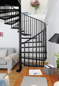 Black Color Stainless Steel Spiral Stairs