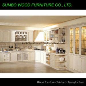 Glaze White Solid Wood Kitchen Cabinet (SBK-032)