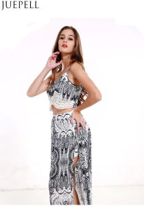 Europe Retro Summer Fashion Printed Suit Women Sexy V-Neck Camisole Piece Split Culottes Dress pictures & photos