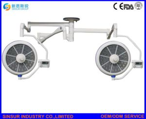 Qualified Hospital Surgical Shadowless Two Heads Ceiling LED Operating Lamp pictures & photos