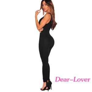 Black Ribbed Cut out Tank Jumpsuit pictures & photos