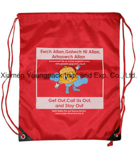 Personalized Red Custom Nylon Drawstring Backpack Kids Bag pictures & photos