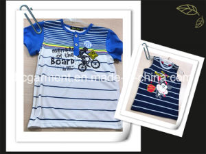Kid Clothes Cotton Strip Print Shirt for Boy/Girl pictures & photos