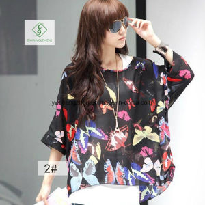2017 New Design Chiffion Batwing Loose Shirt Factory Direct pictures & photos