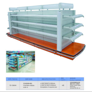 Double Side Metal Cosmetic Display Shelf with Light Box for Supermarket Shop pictures & photos