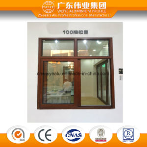 100 Series Wood Grain Aluminium Sliding Window with Insulated Temper Glass pictures & photos
