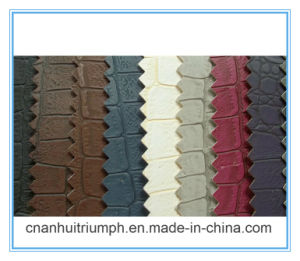 100% PU Crocodile Grain and Lizards Grain Leather for Shoes and Bags pictures & photos