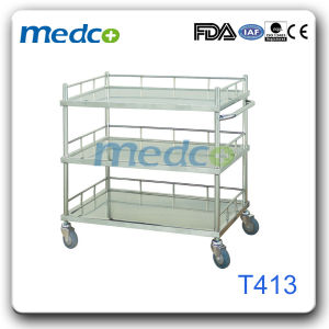 Hospital Stainless Steel Emergency Crash Cart Treatment Trolley for Patient pictures & photos