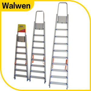 Top Safe 9 Step Household Handrail Aluminum Tube Ladder pictures & photos