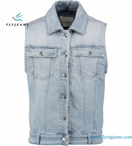 Light-Blue Sleeveless Jacket Vest for Women with MID-Weight Stretch Denim pictures & photos