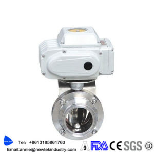 Hygienic Electric Actuated Tri Clover Butterfly Valves Stainless Steel 304 316 pictures & photos
