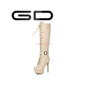Black Fashion Women Shoes Over The Knee PU High Heels Ladies Boots pictures & photos