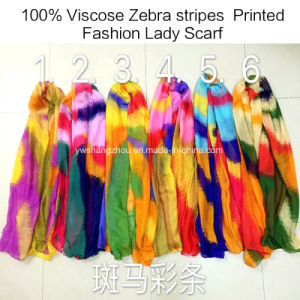 100% Viscose Hot Sale Fashion Ladies Zebra Stripes Printed Scarf pictures & photos