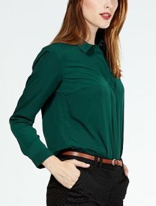 Office Green Chiffon Blouse for Women pictures & photos