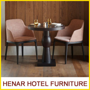 Simple Solid Wood Round Table and Lounge Chair for Hotel Dining Room Used pictures & photos