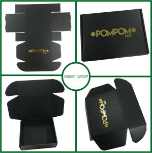 Matt Black Corrugated Box with Gold Hot Stamping (FOREST PACKING 025) pictures & photos