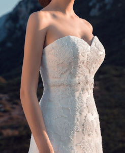 A-Line Sweetheart Crystal Waistband Wool Skirt Wedding Bridal Dress Gown pictures & photos