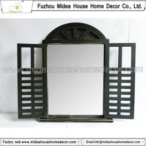 Antique Vintage Black Handmade Decorative Wooden Window Shutter Mirror